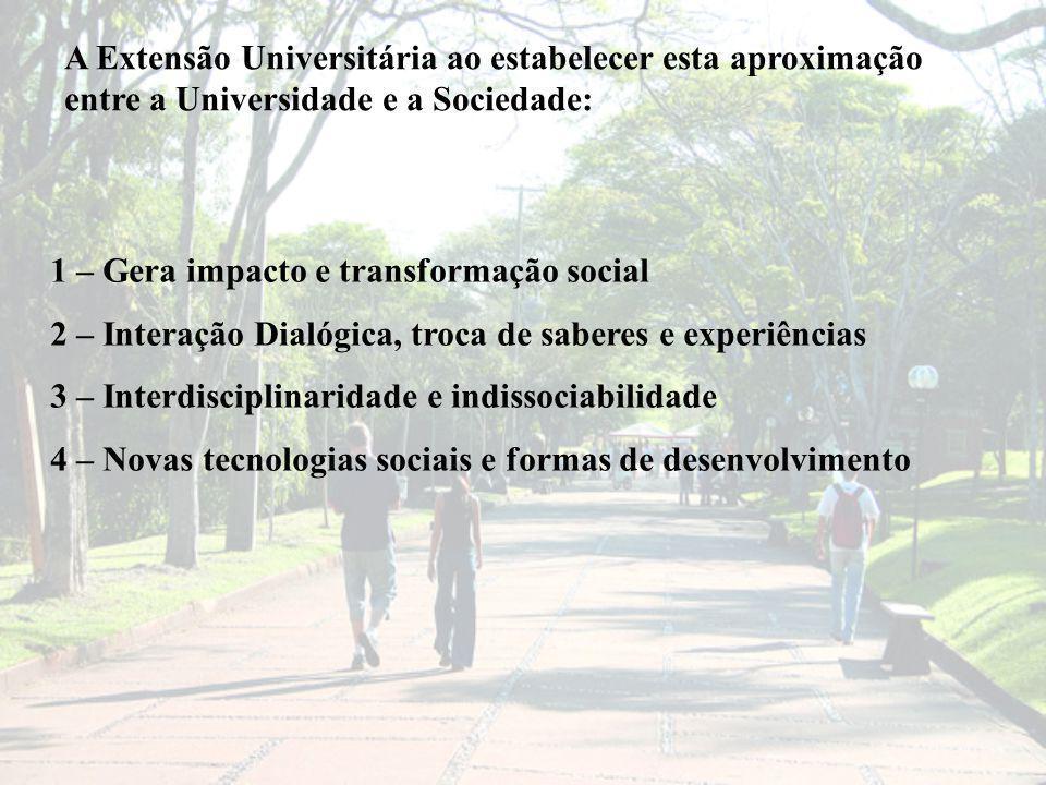 A Extensão Universitária ao estabelecer esta aproximação entre a Universidade e a Sociedade: 1 – Gera impacto e transformação social 2 – Interação Dialógica, troca de saberes e experiências 3 – Interdisciplinaridade e indissociabilidade 4 – Novas tecnologias sociais e formas de desenvolvimento