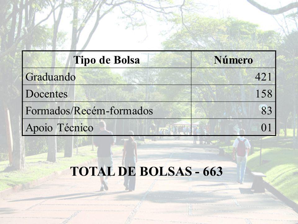 Tipo de BolsaNúmero Graduando421 Docentes158 Formados/Recém-formados83 Apoio Técnico01 TOTAL DE BOLSAS - 663