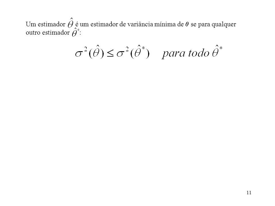 11 Um estimador é um estimador de variância mínima de se para qualquer outro estimador :