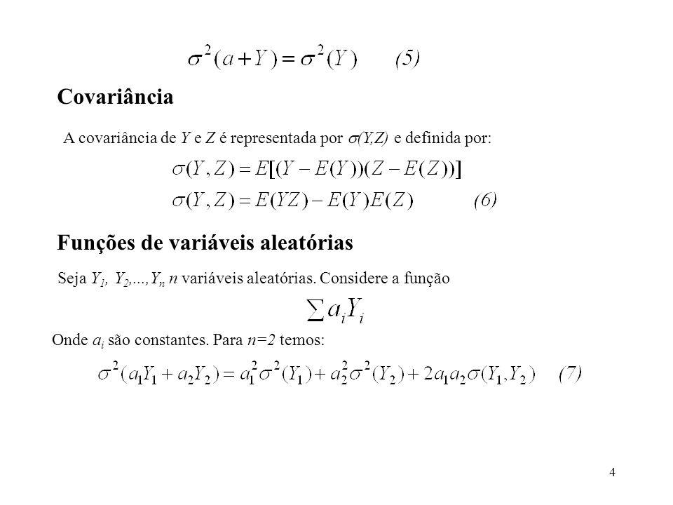 4 Covariância A covariância de Y e Z é representada por (Y,Z) e definida por: Funções de variáveis aleatórias Seja Y 1, Y 2,...,Y n n variáveis aleató