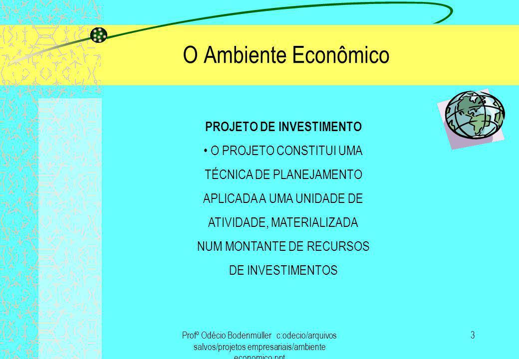 Profº Odécio Bodenmüller c:odecio/arquivos salvos/projetos empresariais/ambiente economico.ppt 4 O Ambiente Econômico SOB O PONTO DE VISTA EMPRESARIAL, INVESTIMENTO É UM DESEMBOLSO FEITO VISANDO GERAR UM FLUXO DE BENEFÍCIOS FUTUROS DURANTE UM PERÍODO DE TEMPO DENOMINADO HORIZONTE DE PLANEJAMENTO