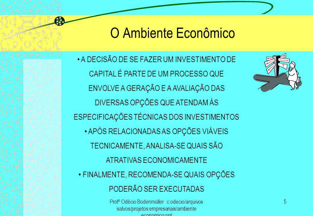 Profº Odécio Bodenmüller c:odecio/arquivos salvos/projetos empresariais/ambiente economico.ppt 6 O Ambiente Econômico A AVALIAÇÃO DE UM PROJETO VISA A TOMADA DE DECISÃO QUE VENHA A ELEVAR O VALOR DE MERCADO DA EMPRESA, OU SEJA, CRIAR VALOR PARA O ACIONISTA