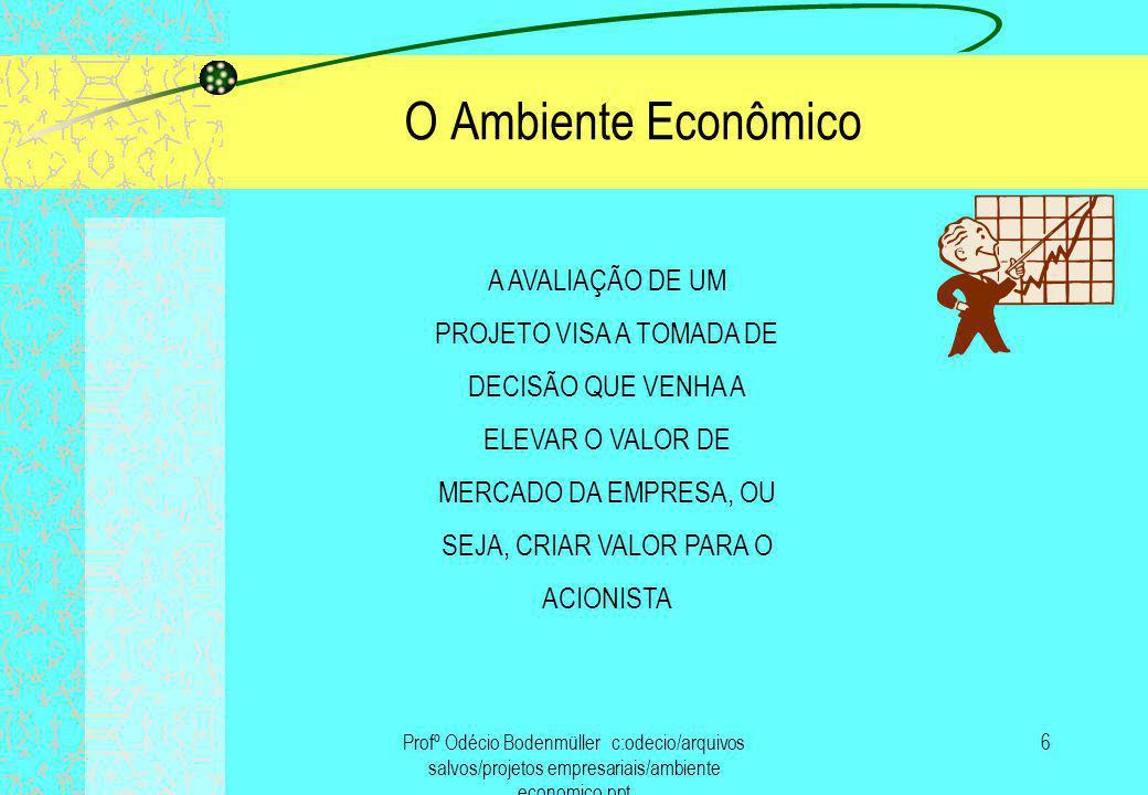 Profº Odécio Bodenmüller c:odecio/arquivos salvos/projetos empresariais/ambiente economico.ppt 7 O Ambiente Econômico Somente depois que o investimento for feito e os resultados começarem a aparecer é que saberemos se a estratégia foi bem sucedida.