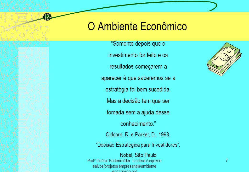 Profº Odécio Bodenmüller c:odecio/arquivos salvos/projetos empresariais/ambiente economico.ppt 8 O Ambiente Econômico QUANTO MAIOR A SUPOSTA RECOMPENSA, MAIOR O RISCO.