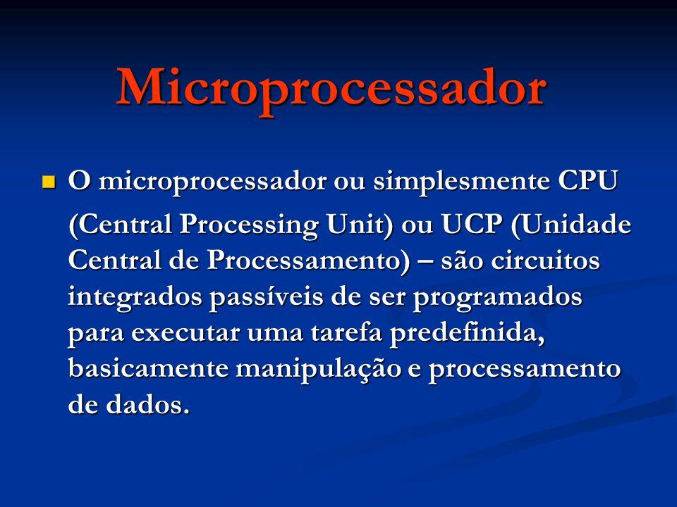 Microprocessador O microprocessador ou simplesmente CPU O microprocessador ou simplesmente CPU (Central Processing Unit) ou UCP (Unidade Central de Processamento) – são circuitos integrados passíveis de ser programados para executar uma tarefa predefinida, basicamente manipulação e processamento de dados.