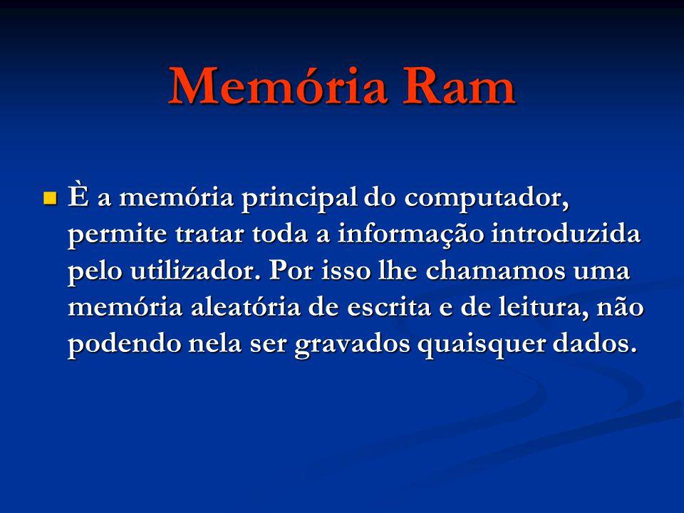 È a memória principal do computador, permite tratar toda a informação introduzida pelo utilizador. Por isso lhe chamamos uma memória aleatória de escr