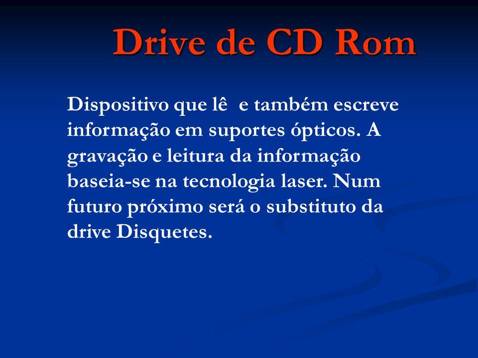 Dispositivo que lê e também escreve informação em suportes ópticos.