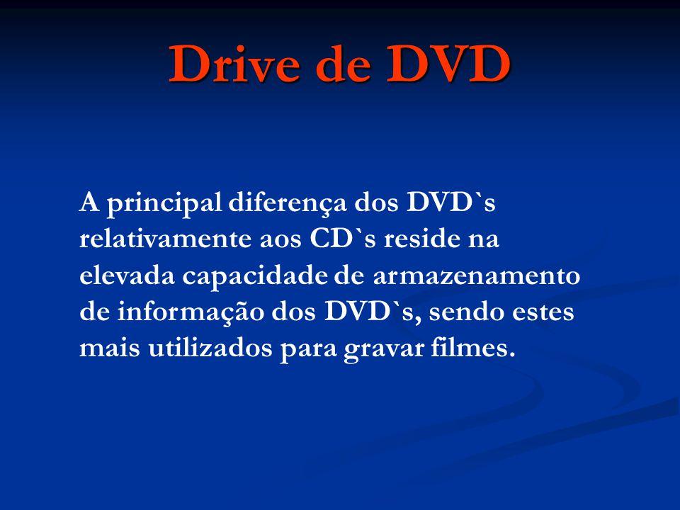 A principal diferença dos DVD`s relativamente aos CD`s reside na elevada capacidade de armazenamento de informação dos DVD`s, sendo estes mais utiliza