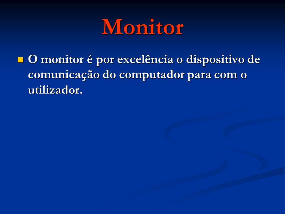 Monitor O monitor é por excelência o dispositivo de comunicação do computador para com o utilizador. O monitor é por excelência o dispositivo de comun