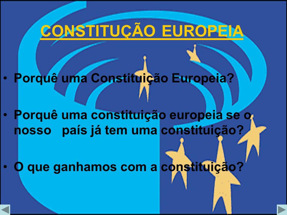 Porquê uma Constituição Europeia? Porquê uma constituição europeia se o nosso país já tem uma constituição? O que ganhamos com a constituição? CONSTIT