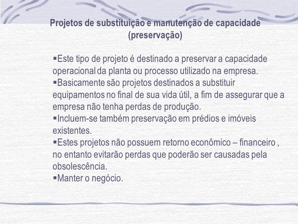 Projetos de substituição e manutenção de capacidade (preservação) Este tipo de projeto é destinado a preservar a capacidade operacional da planta ou processo utilizado na empresa.