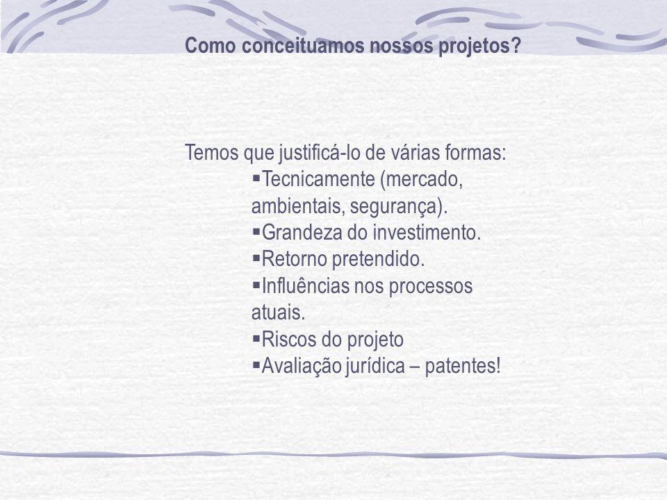 Como conceituamos nossos projetos? Temos que justificá-lo de várias formas: Tecnicamente (mercado, ambientais, segurança). Grandeza do investimento. R