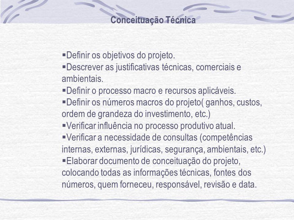 Conceituação Técnica Definir os objetivos do projeto. Descrever as justificativas técnicas, comerciais e ambientais. Definir o processo macro e recurs