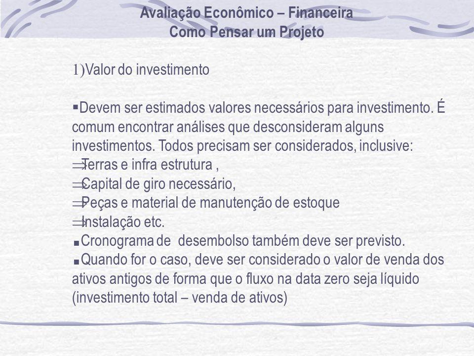 Avaliação Econômico – Financeira Como Pensar um Projeto 1) Valor do investimento Devem ser estimados valores necessários para investimento.