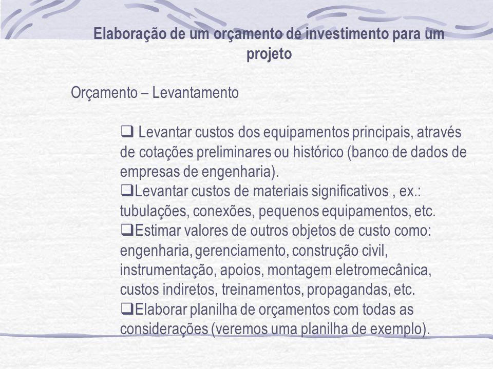 Elaboração de um orçamento de investimento para um projeto Orçamento – Levantamento Levantar custos dos equipamentos principais, através de cotações p