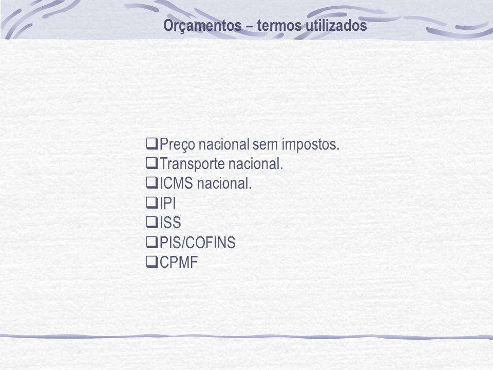 Orçamentos – termos utilizados Preço nacional sem impostos. Transporte nacional. ICMS nacional. IPI ISS PIS/COFINS CPMF