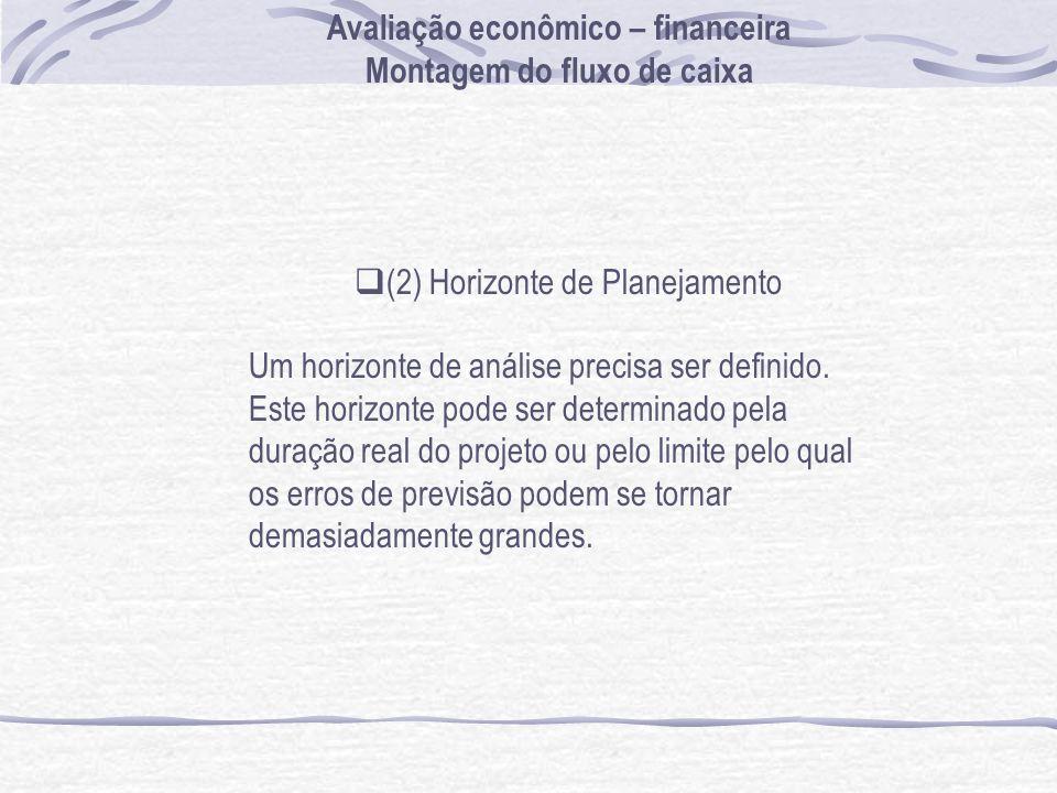 Avaliação econômico – financeira Montagem do fluxo de caixa (2) Horizonte de Planejamento Um horizonte de análise precisa ser definido.