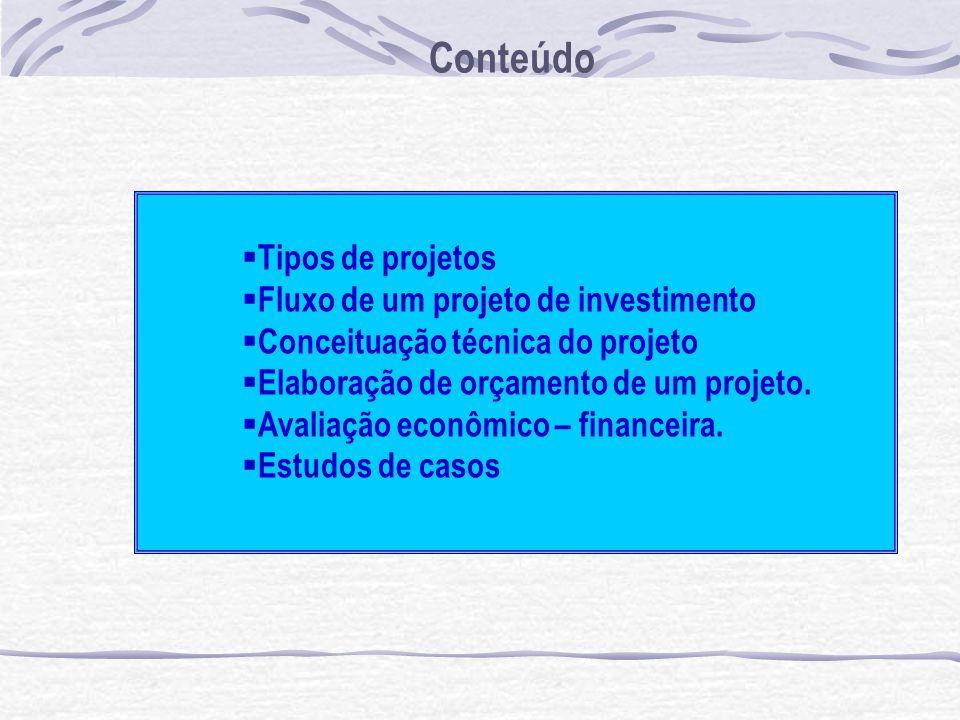 Tipos de projetos Fluxo de um projeto de investimento Conceituação técnica do projeto Elaboração de orçamento de um projeto. Avaliação econômico – fin