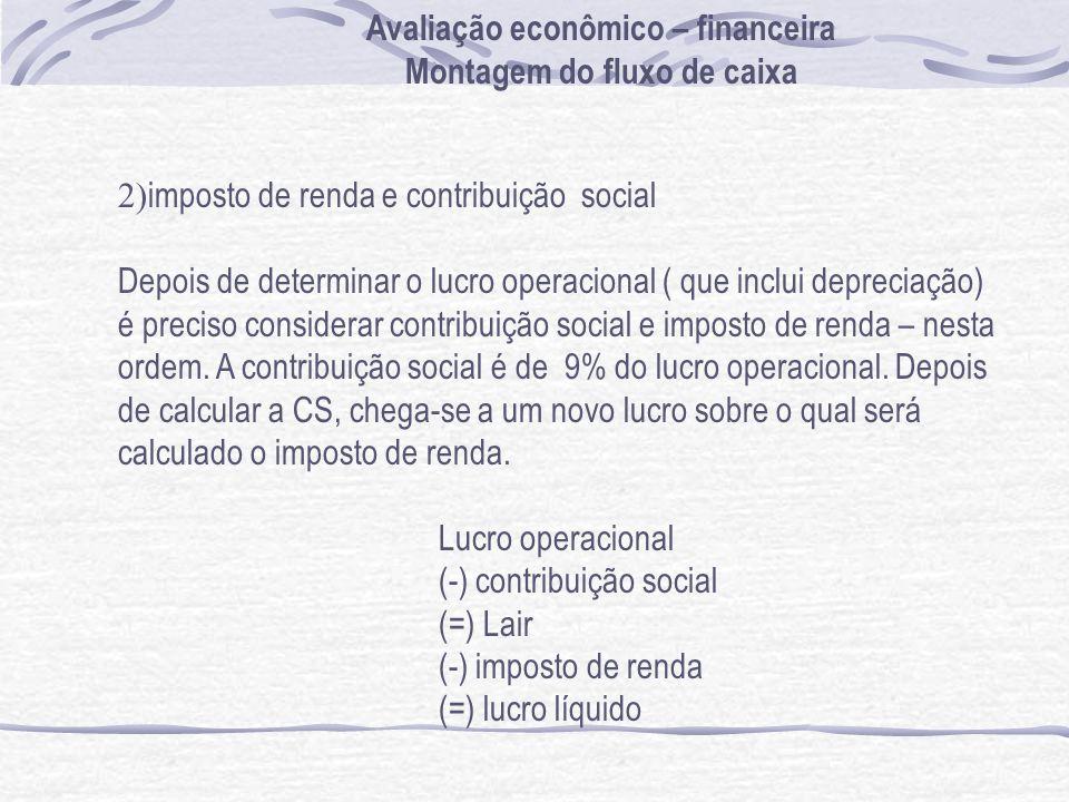 2) imposto de renda e contribuição social Depois de determinar o lucro operacional ( que inclui depreciação) é preciso considerar contribuição social e imposto de renda – nesta ordem.