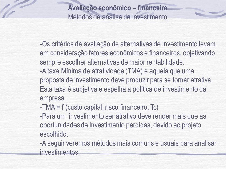 Avaliação econômico – financeira Métodos de análise de Investimento -Os critérios de avaliação de alternativas de investimento levam em consideração fatores econômicos e financeiros, objetivando sempre escolher alternativas de maior rentabilidade.