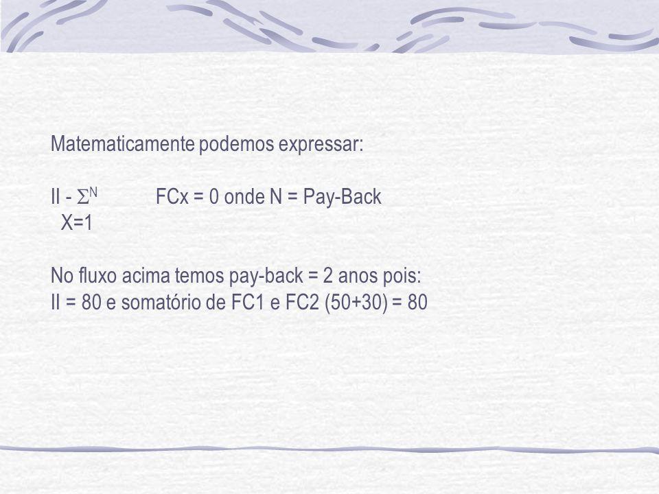 Matematicamente podemos expressar: II - N FCx = 0 onde N = Pay-Back X=1 No fluxo acima temos pay-back = 2 anos pois: II = 80 e somatório de FC1 e FC2