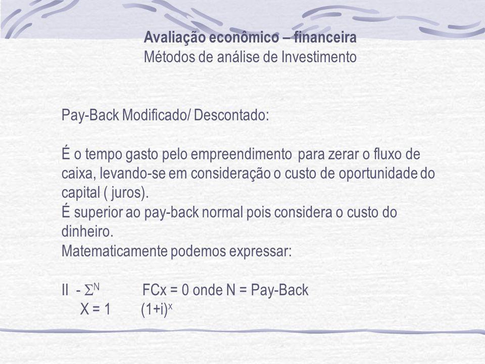 Avaliação econômico – financeira Métodos de análise de Investimento Pay-Back Modificado/ Descontado: É o tempo gasto pelo empreendimento para zerar o fluxo de caixa, levando-se em consideração o custo de oportunidade do capital ( juros).