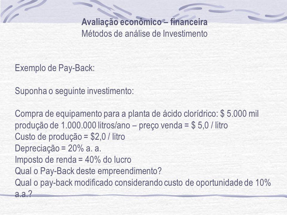 Avaliação econômico – financeira Métodos de análise de Investimento Exemplo de Pay-Back: Suponha o seguinte investimento: Compra de equipamento para a planta de ácido clorídrico: $ 5.000 mil produção de 1.000.000 litros/ano – preço venda = $ 5,0 / litro Custo de produção = $2,0 / litro Depreciação = 20% a.