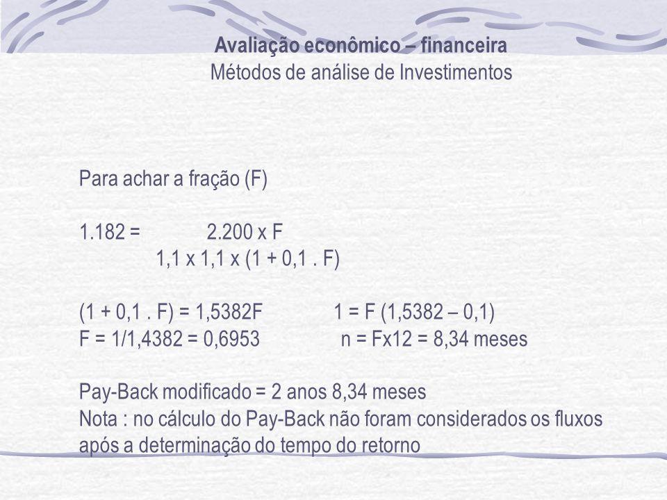 Avaliação econômico – financeira Métodos de análise de Investimentos Para achar a fração (F) 1.182 = 2.200 x F 1,1 x 1,1 x (1 + 0,1. F) (1 + 0,1. F) =