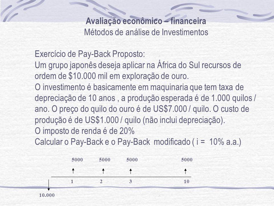 Avaliação econômico – financeira Métodos de análise de Investimentos Exercício de Pay-Back Proposto: Um grupo japonês deseja aplicar na África do Sul recursos de ordem de $10.000 mil em exploração de ouro.