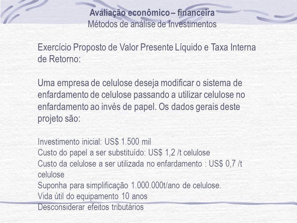 Avaliação econômico – financeira Métodos de análise de Investimentos Exercício Proposto de Valor Presente Líquido e Taxa Interna de Retorno: Uma empre