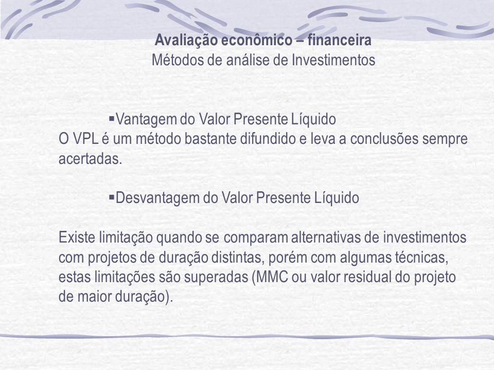 Avaliação econômico – financeira Métodos de análise de Investimentos Vantagem do Valor Presente Líquido O VPL é um método bastante difundido e leva a conclusões sempre acertadas.