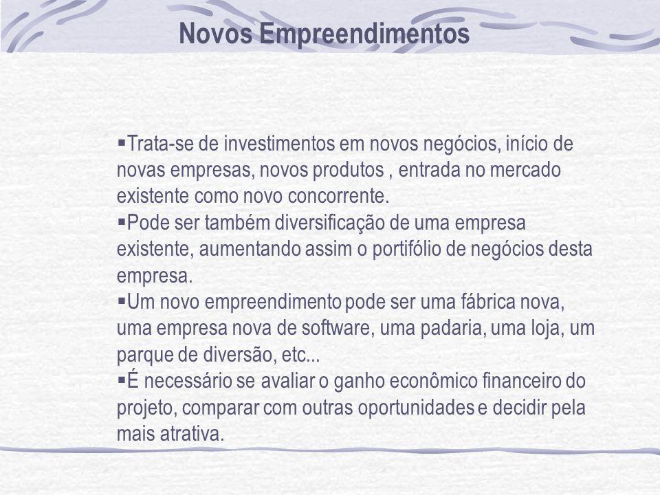 Novos Empreendimentos Trata-se de investimentos em novos negócios, início de novas empresas, novos produtos, entrada no mercado existente como novo concorrente.
