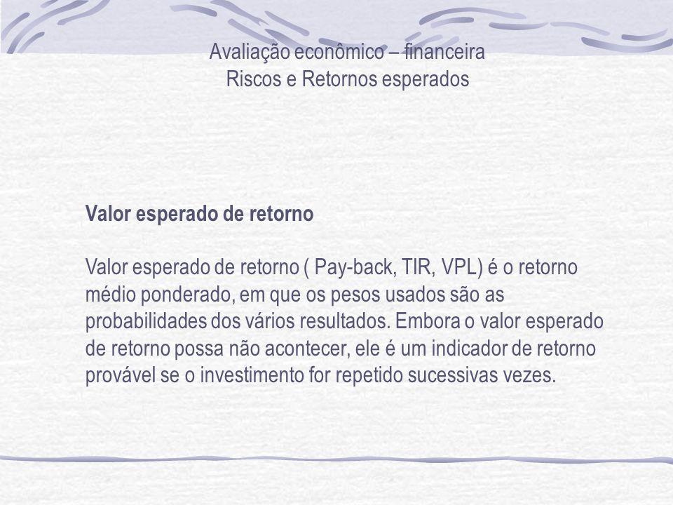 Avaliação econômico – financeira Riscos e Retornos esperados Valor esperado de retorno Valor esperado de retorno ( Pay-back, TIR, VPL) é o retorno médio ponderado, em que os pesos usados são as probabilidades dos vários resultados.