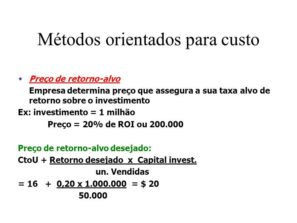 Mark-up Acrescenta um % ao custo do produto a fim de chegar a um preço de venda CVU = 10 CF = 300.000 UN vend. Previstas = 50.000 Custo un. = CV + CF