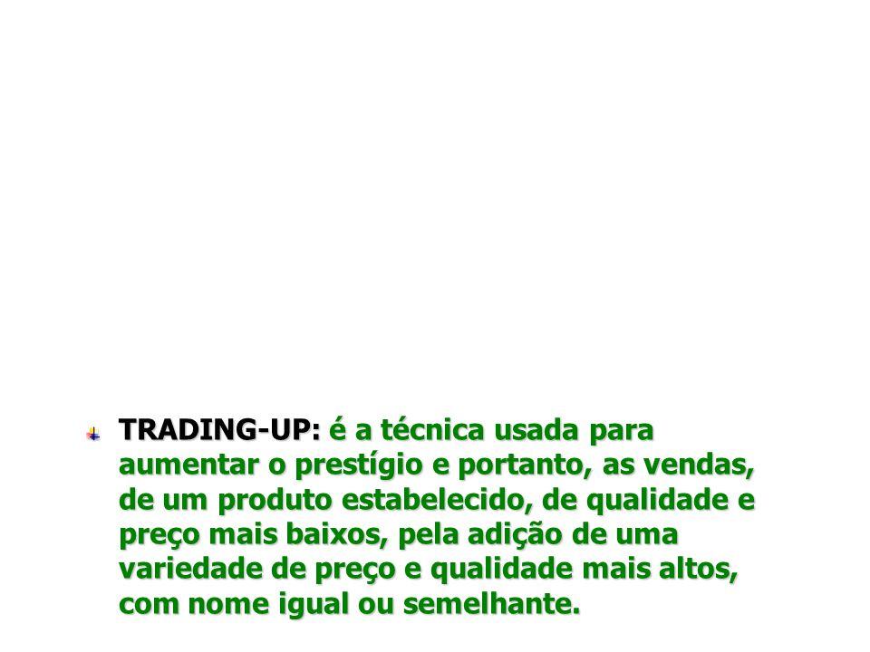 ESTRATÉGIAS DE Técnicas de Trading-up/down A oferta de diferentes níveis preço-qualidade de produto, permite atender melhor aos vários segmentos de de