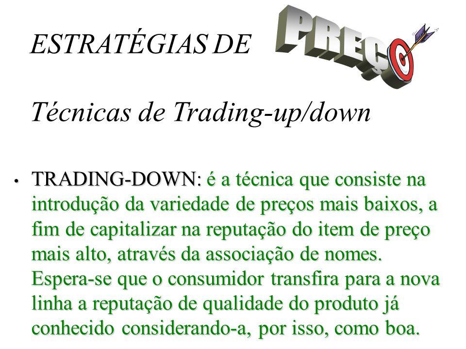 ESTRATÉGIAS DE Técnicas de Trading-up/down Resumindo: As duas estratégias podem ser muito eficientes, mas só devem ser utilizadas após profundo exame