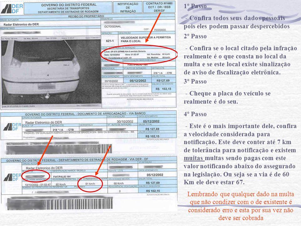 1º Passo - Confira todos seus dados pessoais pois eles podem passar despercebidos 2º Passo - Confira se o local citado pela infração realmente é o que