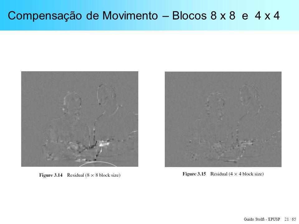 Guido Stolfi - EPUSP 21 / 65 Compensação de Movimento – Blocos 8 x 8 e 4 x 4