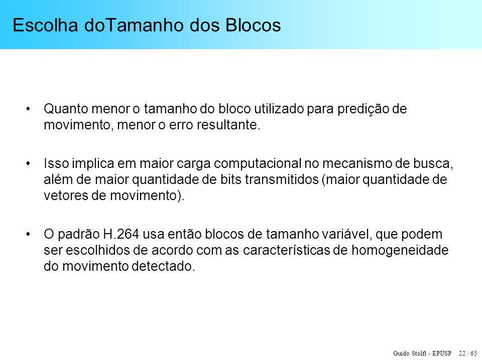 Guido Stolfi - EPUSP 22 / 65 Escolha doTamanho dos Blocos Quanto menor o tamanho do bloco utilizado para predição de movimento, menor o erro resultant