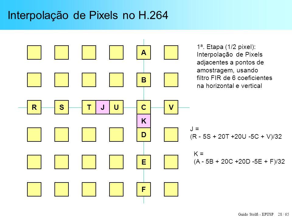 Guido Stolfi - EPUSP 28 / 65 Interpolação de Pixels no H.264 R K JSTU A E B C D V F K = (A - 5B + 20C +20D -5E + F)/32 J = (R - 5S + 20T +20U -5C + V)