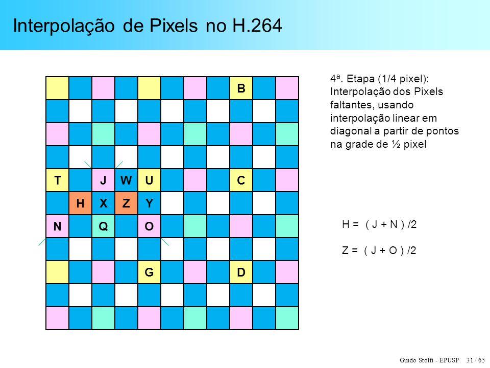Guido Stolfi - EPUSP 31 / 65 Interpolação de Pixels no H.264 T G U B D C H = ( J + N ) /2 Z = ( J + O ) /2 4ª. Etapa (1/4 pixel): Interpolação dos Pix