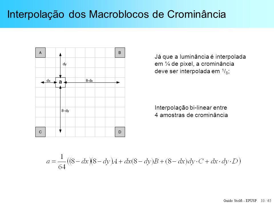 Guido Stolfi - EPUSP 33 / 65 Interpolação dos Macroblocos de Crominância Já que a luminância é interpolada em ¼ de pixel, a crominância deve ser inter