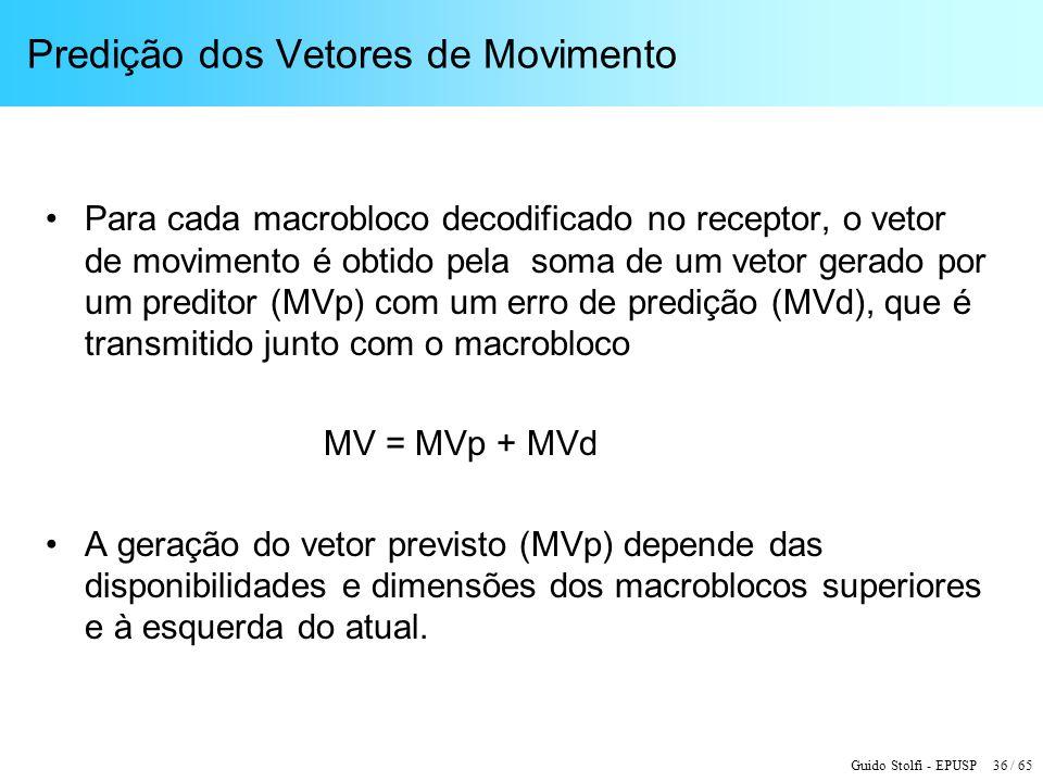 Guido Stolfi - EPUSP 36 / 65 Predição dos Vetores de Movimento Para cada macrobloco decodificado no receptor, o vetor de movimento é obtido pela soma