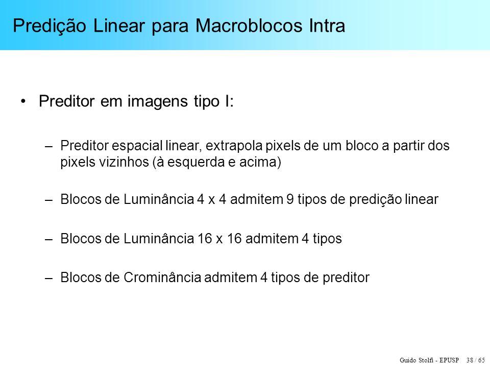 Guido Stolfi - EPUSP 38 / 65 Predição Linear para Macroblocos Intra Preditor em imagens tipo I: –Preditor espacial linear, extrapola pixels de um bloc