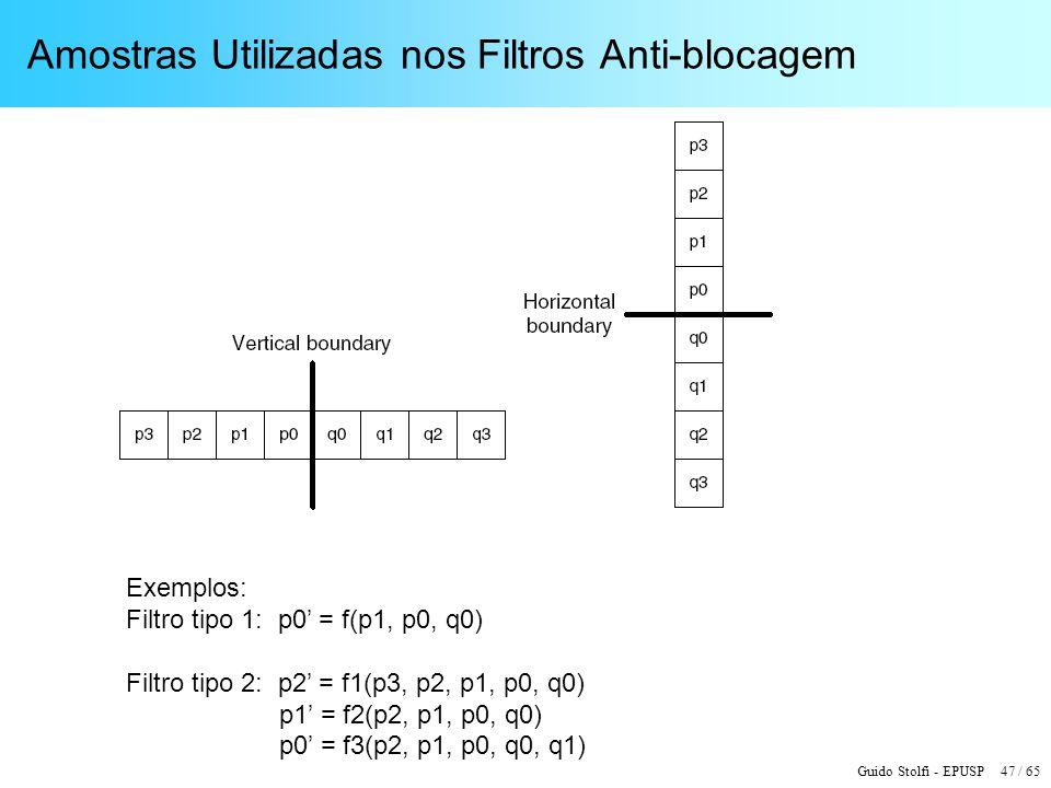 Guido Stolfi - EPUSP 47 / 65 Amostras Utilizadas nos Filtros Anti-blocagem Exemplos: Filtro tipo 1: p0 = f(p1, p0, q0) Filtro tipo 2: p2 = f1(p3, p2,