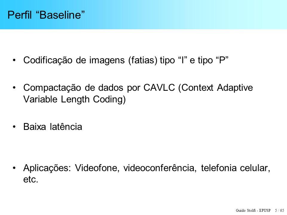 Guido Stolfi - EPUSP 5 / 65 Perfil Baseline Codificação de imagens (fatias) tipo I e tipo P Compactação de dados por CAVLC (Context Adaptive Variable