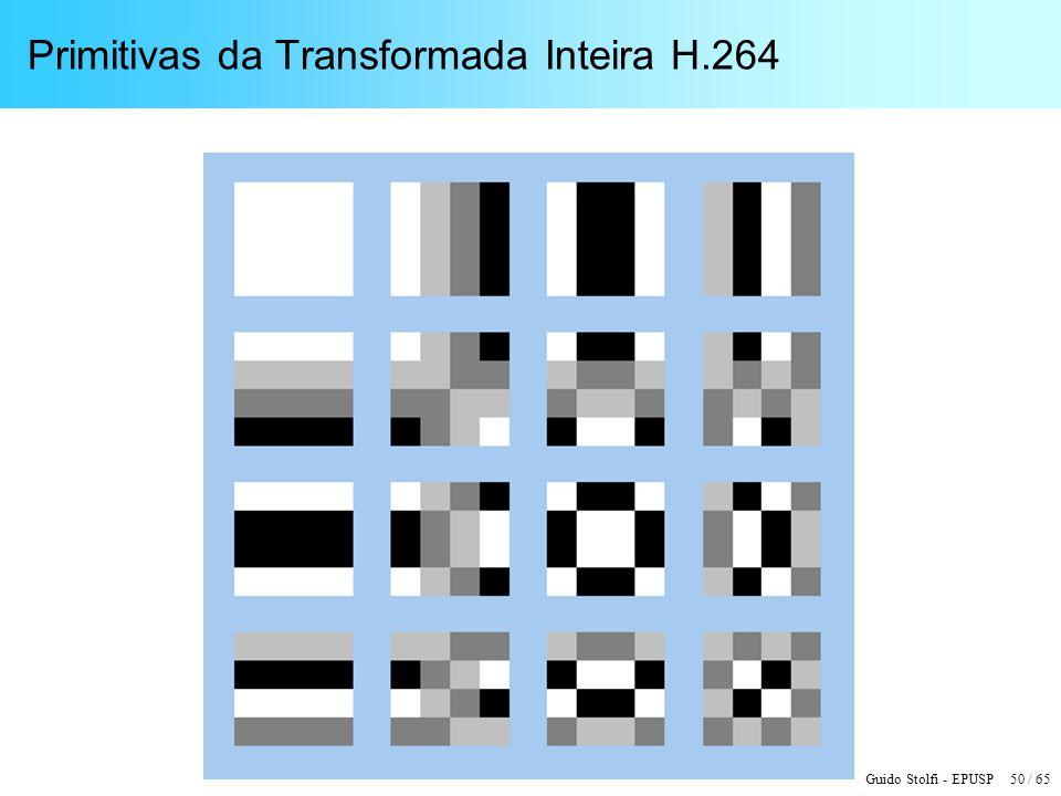 Guido Stolfi - EPUSP 50 / 65 Primitivas da Transformada Inteira H.264
