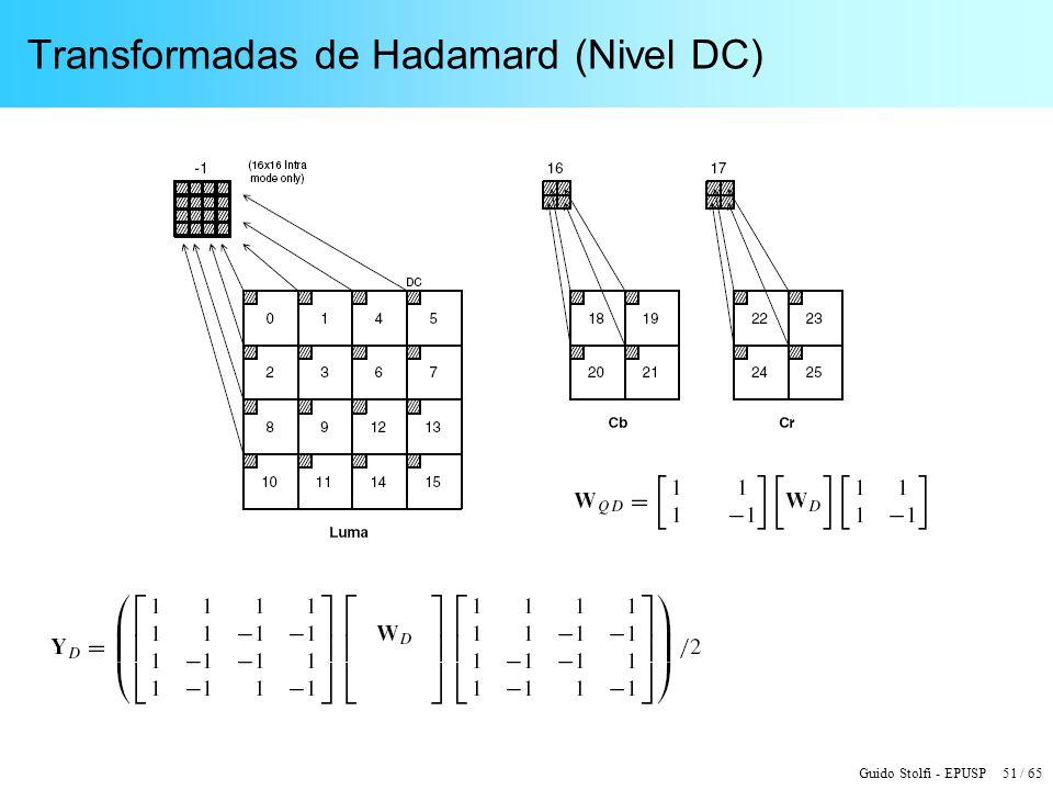 Guido Stolfi - EPUSP 51 / 65 Transformadas de Hadamard (Nivel DC)