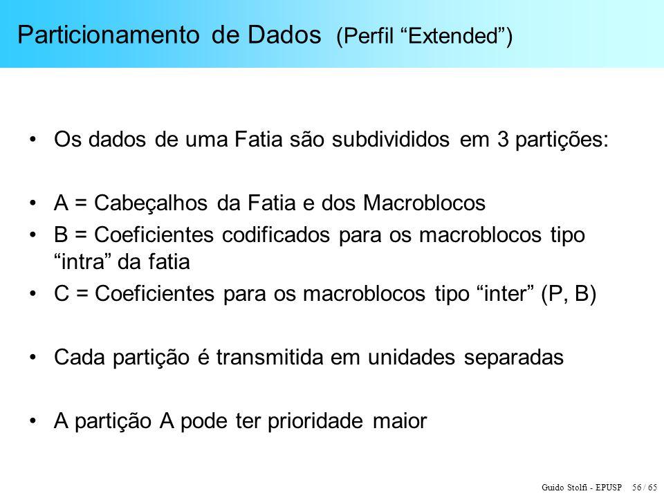 Guido Stolfi - EPUSP 56 / 65 Particionamento de Dados (Perfil Extended) Os dados de uma Fatia são subdivididos em 3 partições: A = Cabeçalhos da Fatia
