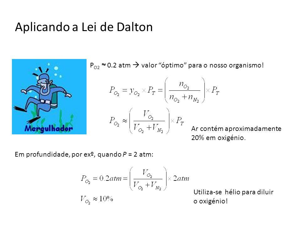 Aplicando a Lei de Dalton P O2 0.2 atm valor óptimo para o nosso organismo! Em profundidade, por exº, quando P = 2 atm: Ar contém aproximadamente 20%